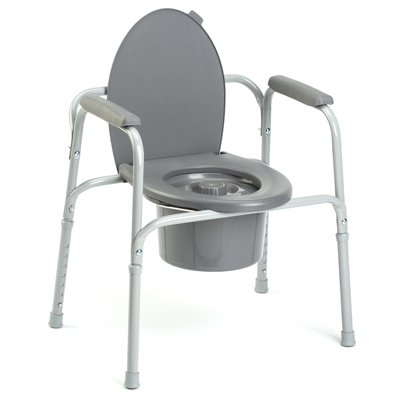Stationary Height adjustable standard commode with bucket