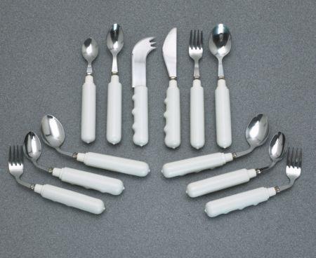 cutlery, comfort, grip, comfort grip, comfort grip cutlery, utensil, finger indentation cutlery, vinyl, angled, angled cutlery