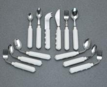 cutlery, comfort, grip, comfort grip, comfort grip cutlery, utensil, finger indentation cutlery, vinyl, angled, angled cutlery